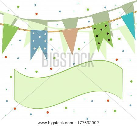Flags and pennants on a rope against a background of colorful confetti. Vector illustration