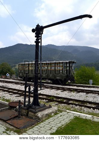 old vintage railway station in the mountains