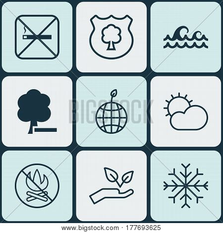 Set Of 9 Ecology Icons. Includes Save World, Cigarette, World Ecology And Other Symbols. Beautiful Design Elements.