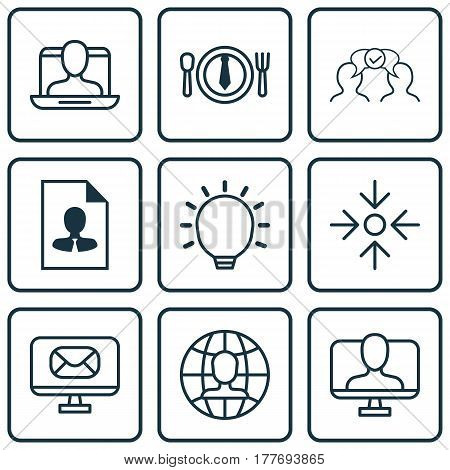 Set Of 9 Business Management Icons. Includes Dinner, Great Glimpse, Business Aim And Other Symbols. Beautiful Design Elements.