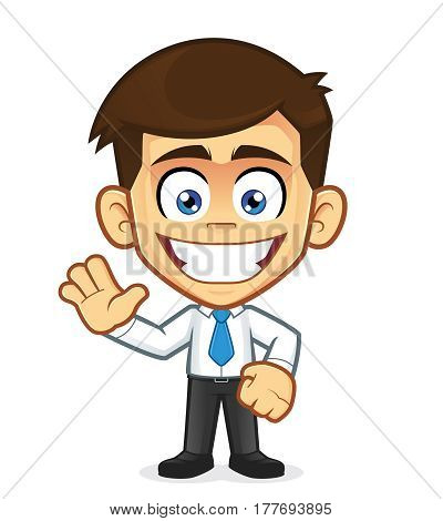 Clipart picture of a businessman cartoon character in waving gesture