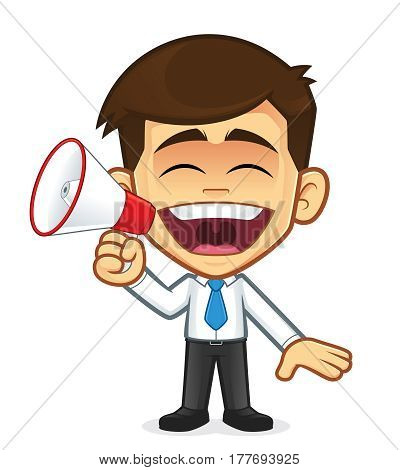 Clipart picture of a businessman cartoon character with megaphone