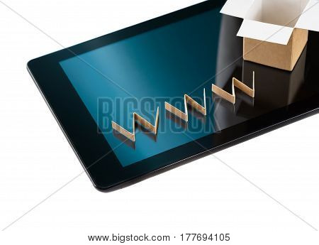 Online shopping concept. Cardboard box and www text over digital tablet isolated on white