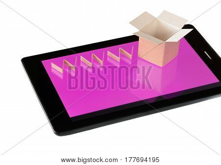 Online shopping concept. Cardboard box and www text over tablet device isolated on white.