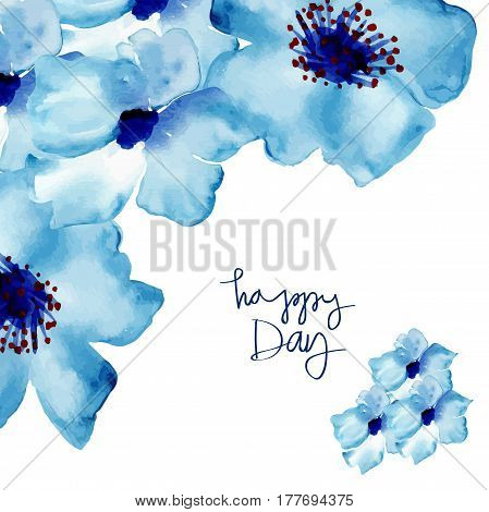 Watercolor Vector Flowers. Purple flowers on a white background. Blue flowers. Watercolor floral illustration. Floral decorative element.
