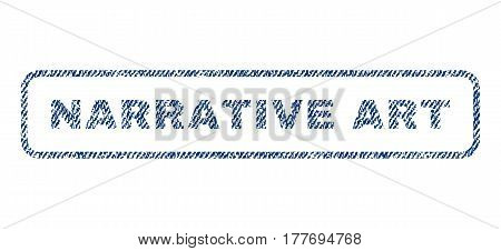 Narrative Art text textile seal stamp watermark. Blue jeans fabric vectorized texture. Vector caption inside rounded rectangular shape. Rubber sign with fiber textile structure.