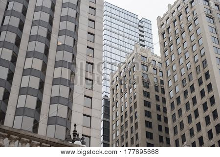 Tall multi-storey houses with attractive architecture reaching for sky in Chicago, USA