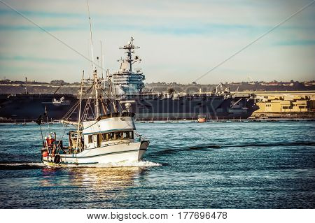 A fishing boat returns to it's dock in southern California.
