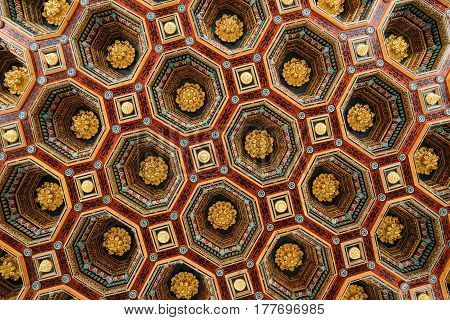 Mir, Belarus - September 1, 2016: Ceiling Roof In The Dining Room Izba In Castle Complex Museum. Famous Landmark, Architectural Ensemble Of Feudalism, Ancient Cultural Monument, UNESCO Heritage