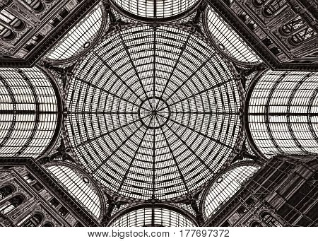 A black and white glass ceiling in Naples Italy.
