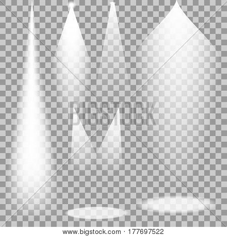 Set of white transparent spotlights. Vector light rays for your design and ideas.