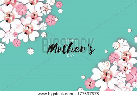 Flower Greeting card with Brilliant stones. Happy Mothers Day. International Women's Day with Paper cut Floral holiday. Beautiful bouquet. Space for text. Vector illustration.