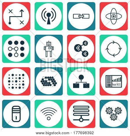 Set Of 16 Artificial Intelligence Icons. Includes Wireless Communications, Variable Architecture, Cyborg And Other Symbols. Beautiful Design Elements.