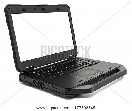 Fully Rugged Laptop with blank screen isolated on a white.