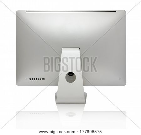 Auminium computer all in one isolated on a white background. View from the back.
