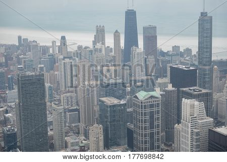 Top view of beautiful tall buildings situating in Chicago city, Illinois, United States