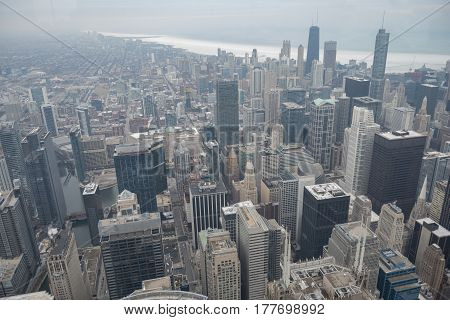 Top view of huge multy-story buildings spreading in distance, USA