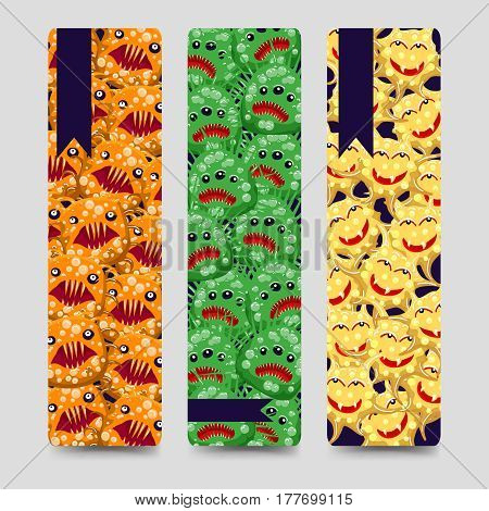 Bookmarks set with colorful emotional monsters or microbes. Vector illustration