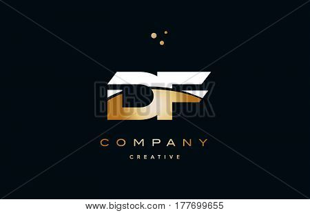 Df D F  White Yellow Gold Golden Luxury Alphabet Letter Logo Icon Template