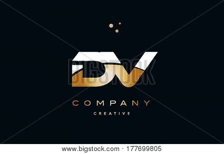 Dv D V  White Yellow Gold Golden Luxury Alphabet Letter Logo Icon Template