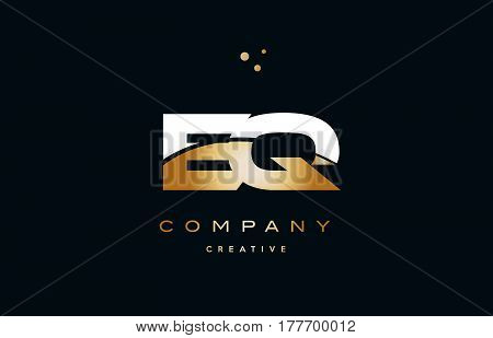 Eq E Q  White Yellow Gold Golden Luxury Alphabet Letter Logo Icon Template