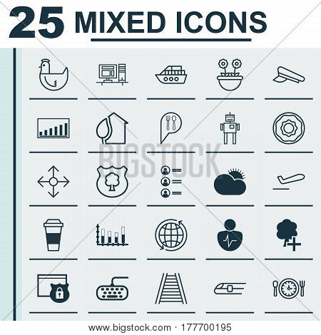 Set Of 25 Universal Editable Icons. Can Be Used For Web, Mobile And App Design. Includes Elements Such As Cyborg, Sunny Weather, Personal Character And More.