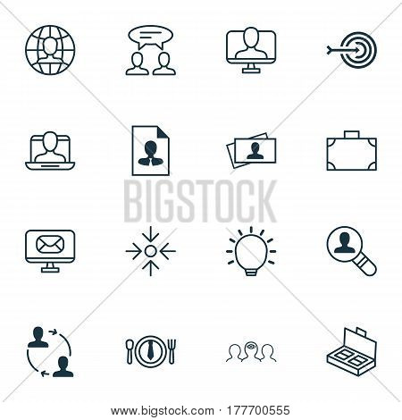 Set Of 16 Business Management Icons. Includes Great Glimpse, Cv, Document Suitcase And Other Symbols. Beautiful Design Elements.