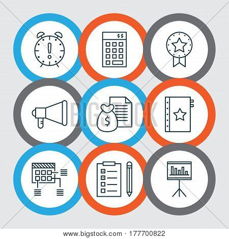 Set Of 9 Project Management Icons. Includes Reminder, Investment, Announcement And Other Symbols. Beautiful Design Elements.