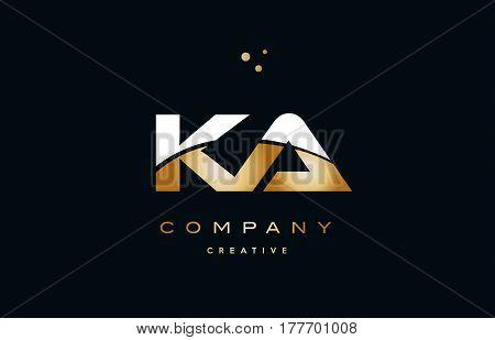 Ka K A  White Yellow Gold Golden Luxury Alphabet Letter Logo Icon Template