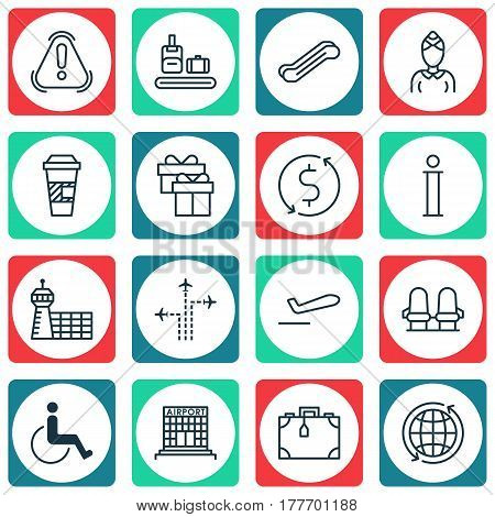 Set Of 16 Travel Icons. Includes Hostess, Siren, Stair Lift And Other Symbols. Beautiful Design Elements.