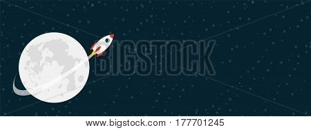 Rocket flying around the moon on starry sky. Vector illustartion with copy space