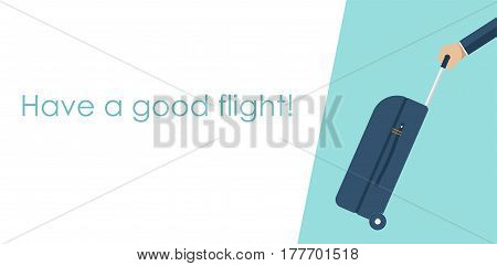 Travel bag in hand on map background. Carrying suitcase. Case hold in hand. Vector illustration