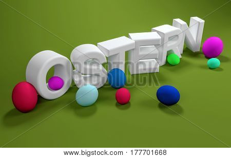 Ostern or Easter 3d white text over a green background with scattered colorful eggs and copy space for your seasonal greeting