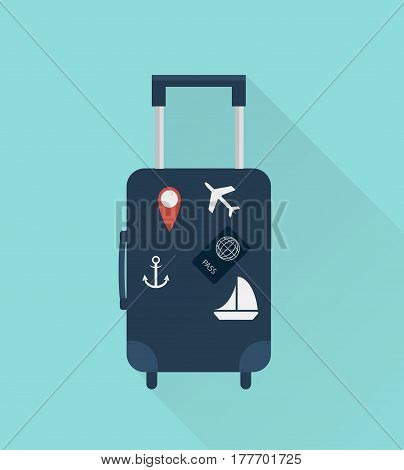 Suitcase with stickers. Travel concept. Vector illustration flat design style with long shadow