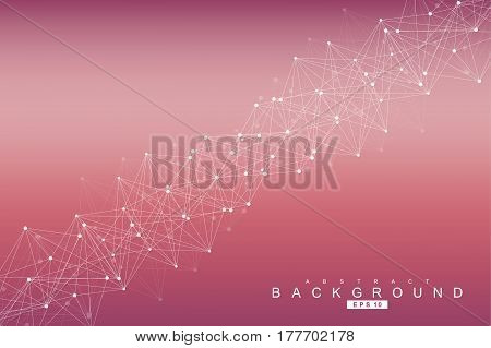 Geometric abstract background with connected line and dots. Structure molecule and communication. Scientific concept for your design. Medical, technology, science background. Vector illustration