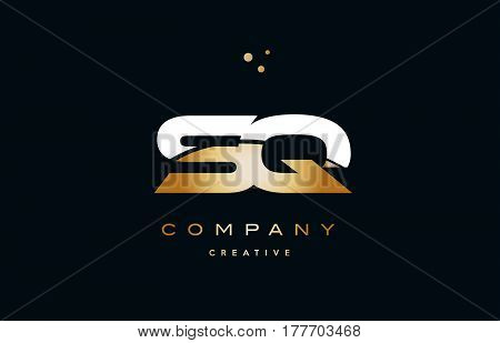 Sq S Q  White Yellow Gold Golden Luxury Alphabet Letter Logo Icon Template