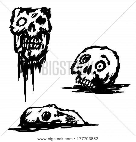 Zombie broken skull set vector illustration. The horror picture to Halloween. Monsters massacre.