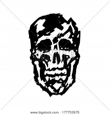 crashed human skull. vector illustration. the horror picture