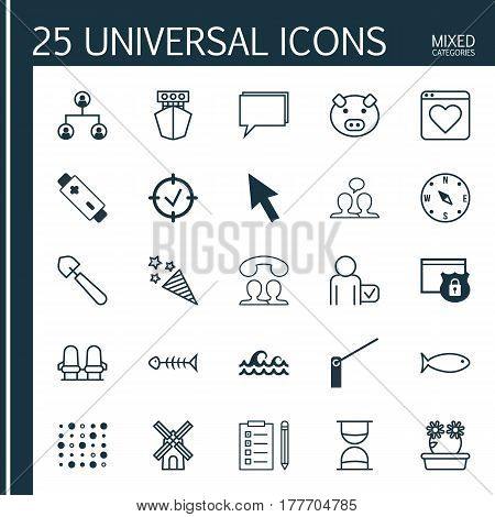 Set Of 25 Universal Editable Icons. Can Be Used For Web, Mobile And App Design. Includes Elements Such As Globetrotter, Mill, Security And More.