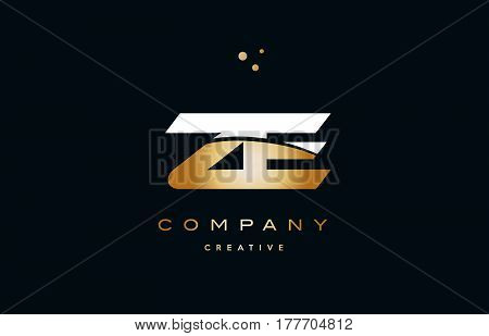 Ze Z E  White Yellow Gold Golden Luxury Alphabet Letter Logo Icon Template