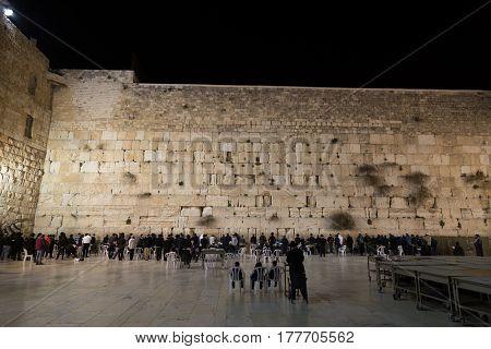 Jerusalem, Israel - February 26, 2017: The Western Wall In Jerusalem
