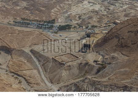 Masada, Israel - February 27, 2017: Aerial View Of The Masada Visitor Center