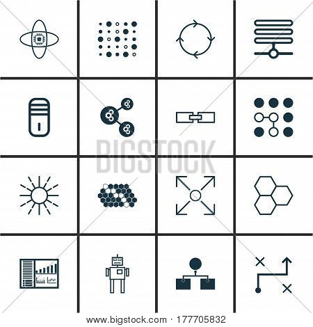 Set Of 16 Robotics Icons. Includes Lightness Mode, Mainframe, Controlling Board And Other Symbols. Beautiful Design Elements.