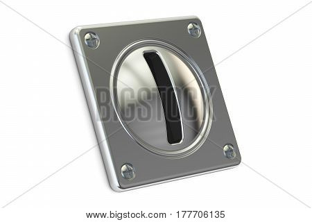 Coin Acceptor for reception of payments 3D rendering isolated on white background