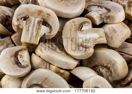 Close up view of small sliced button mushrooms