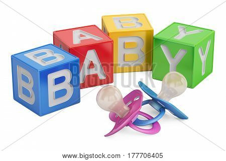 education for baby concept kid cubes with pacifiers. 3D rendering