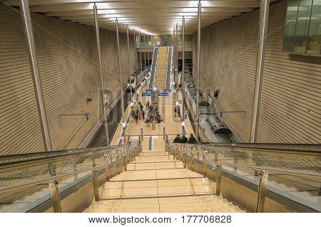 LEIPZIG GERMANY - CIRCA MARCH 2016: an underground subway metro tube train station