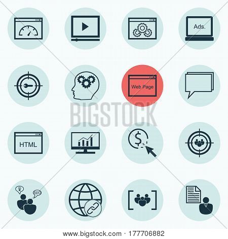 Set Of 16 Advertising Icons. Includes Conference, Focus Group, Market Research And Other Symbols. Beautiful Design Elements.