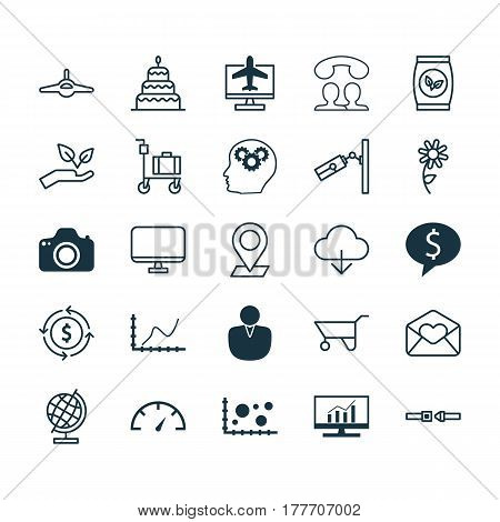 Set Of 25 Universal Editable Icons. Can Be Used For Web, Mobile And App Design. Includes Elements Such As Dessert, Business Deal, Video Surveillance And More.