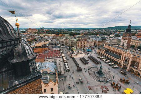 Bird's-eye view old downtown of Krakow, Poland.